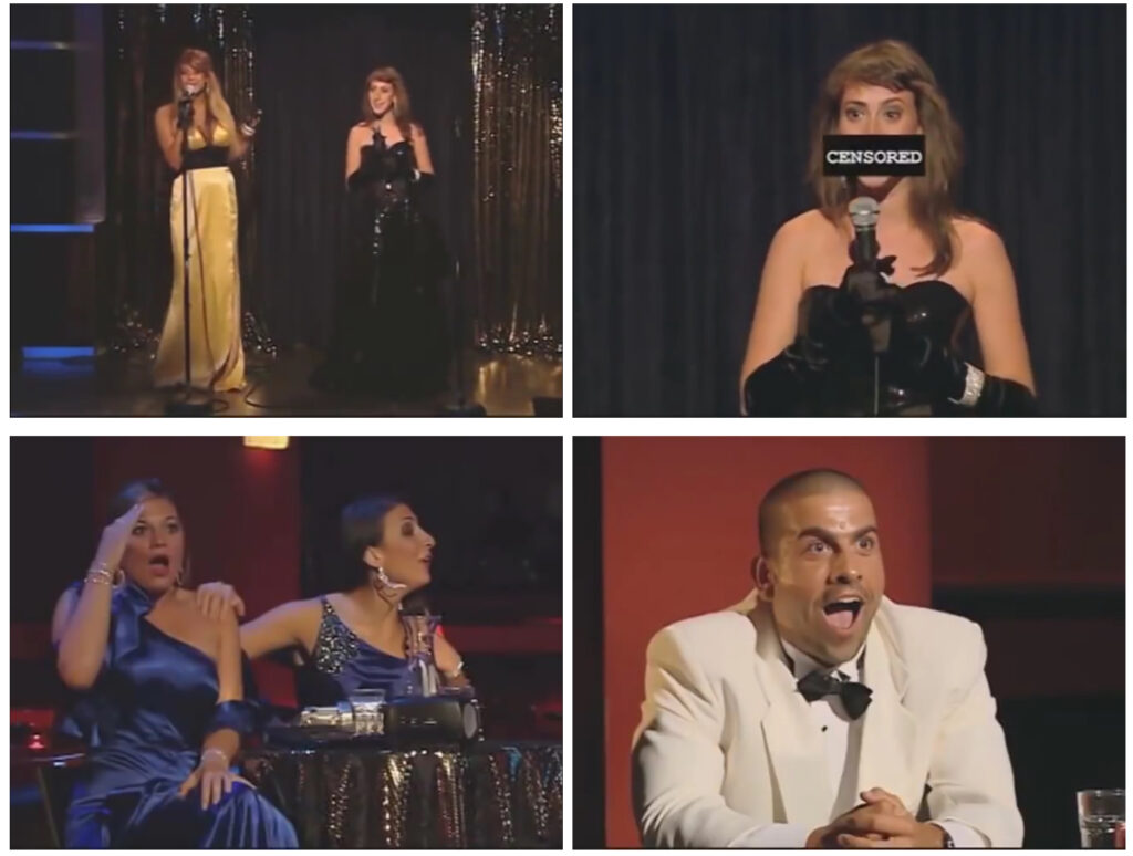 four square images, 3 displaying women on the stage and down on the right corner a surprised man.